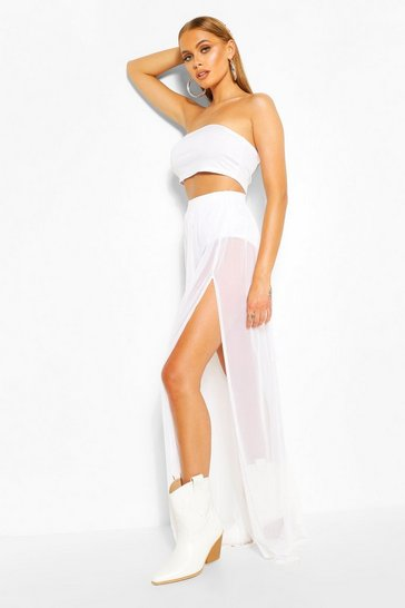 White Bandeau Top & Mesh Tulle Skirt Co-ord