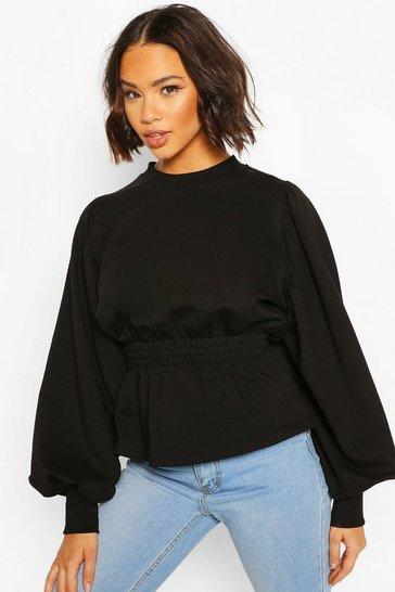 Black Puff Sleeve Shirred Waist Sweat