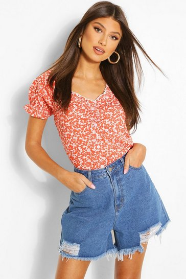 Red Ditsy Print Ruffle Detail Top