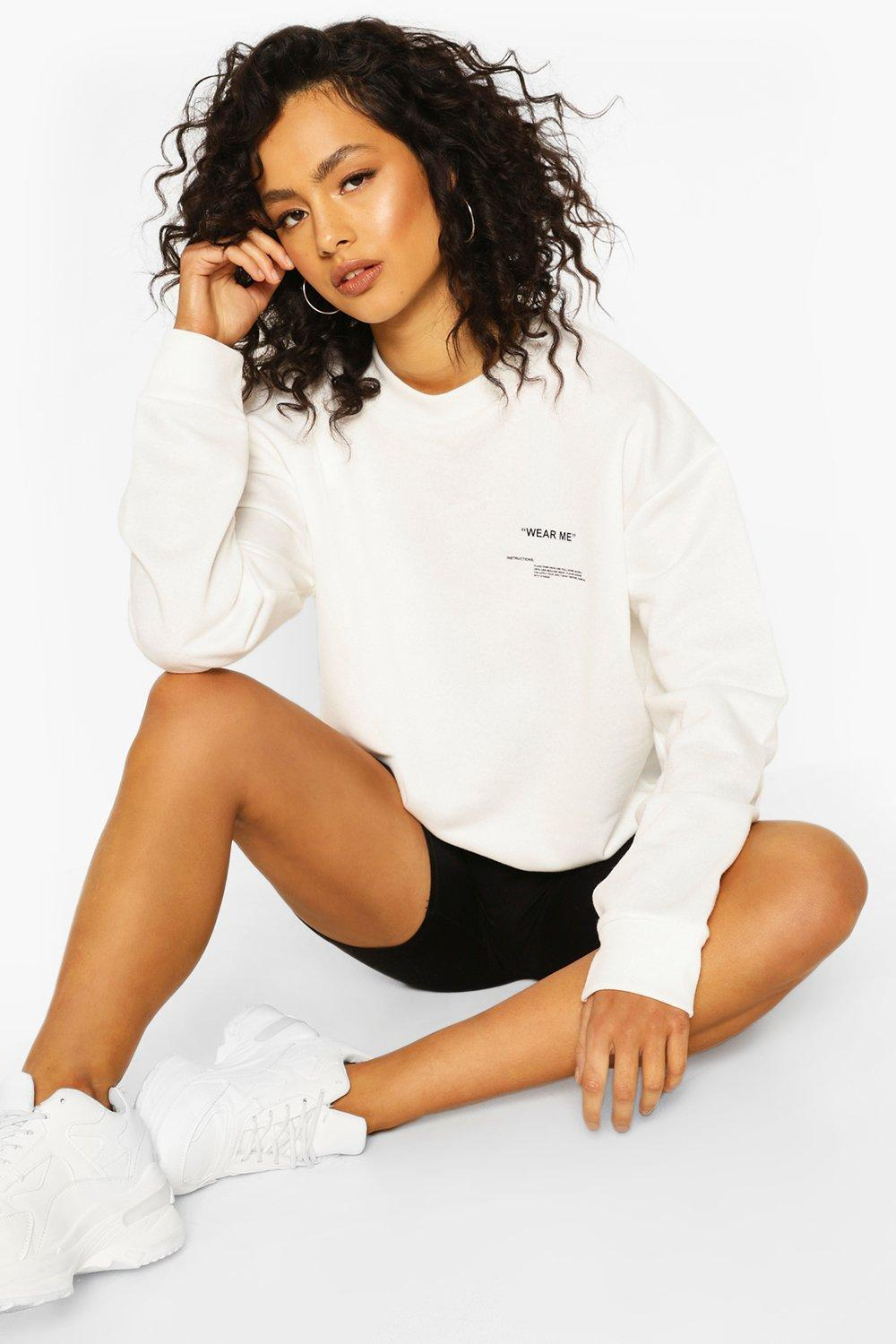 boohoo Womens Slogan Oversized Sweat - White - 14, White