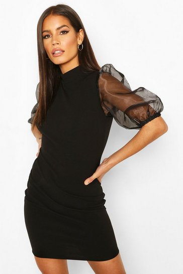 Black Organza Puff Sleeve Mini Dress