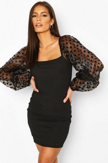 Black Rib Mini Dress With Organza Flock Spot Sleeves