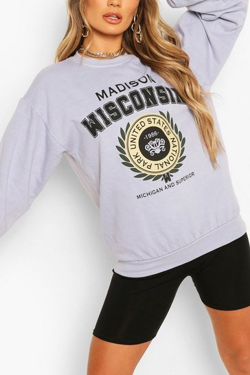 Pale blue Wisconsin Oversized Washed Sweat