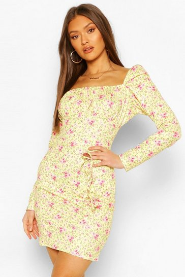 Lemon Milkmaid Bow Detail Dress