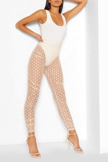 Nude Dobby Mesh Ruched Legging