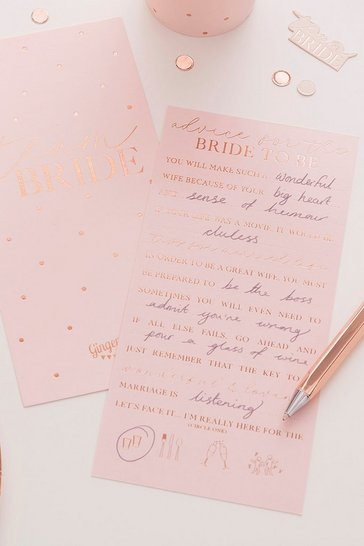 Ginger Ray Rose Gold Advice Card 10 Pack