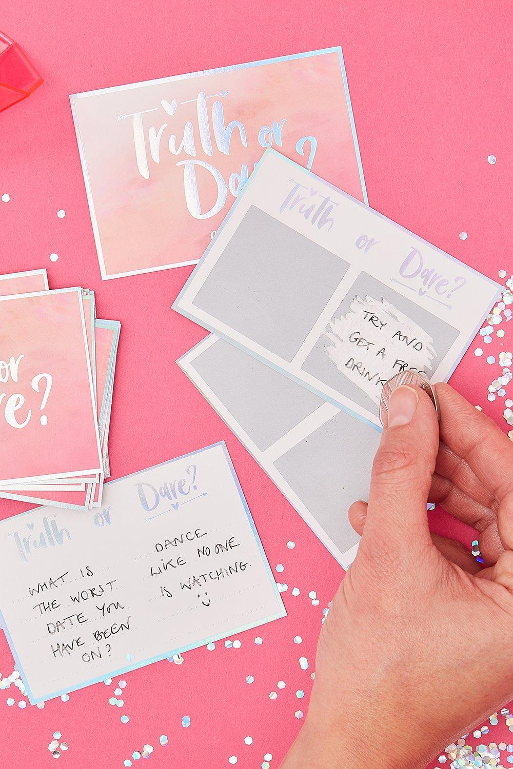 boohoo Womens Ginger Ray Bridal Truth Or Dare Game Cards - Pink - One Size, Pink