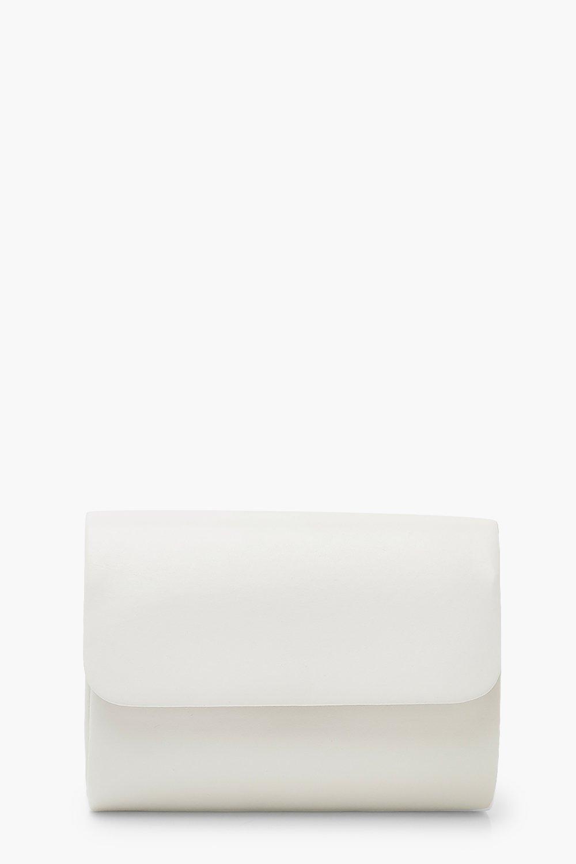 boohoo Womens Pu Structured Mini Clutch Bag & Chain - White - One Size, White