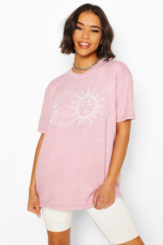 Womens Sun & Moon Washed Tee - Pink - 40, Pink - Boohoo.com