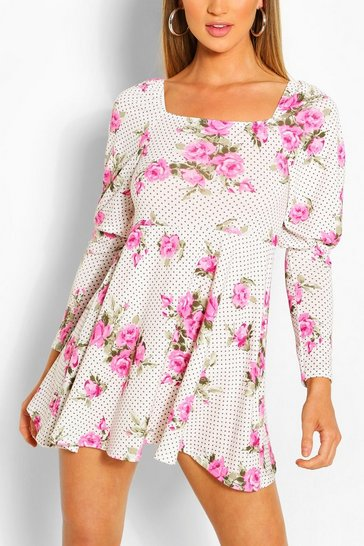 White Floral Puff Sleeve Sqaure Neck Skater Dress