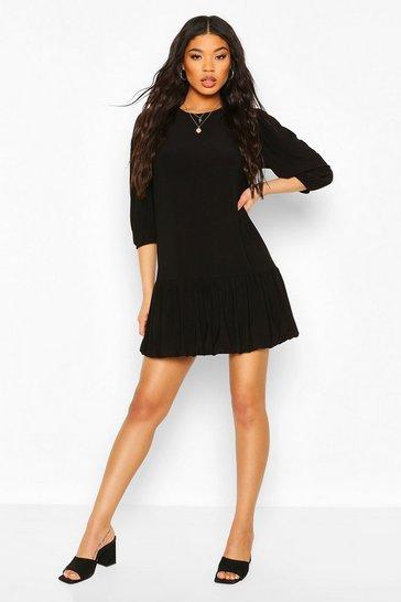 Black Bubble Hem Smock Dress