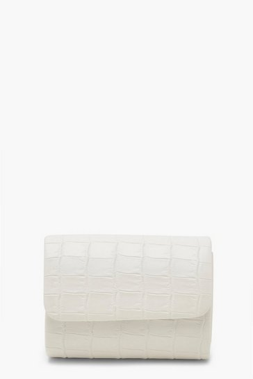 White Mini Croc Structured Clutch Bag & Chain