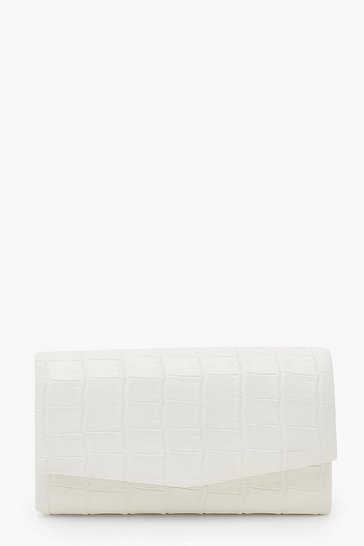 White Croc Structured Clutch Bag & Chain