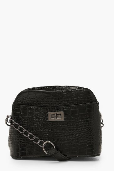 Black Croc Twist Lock Double Pocket Cross Body Bag