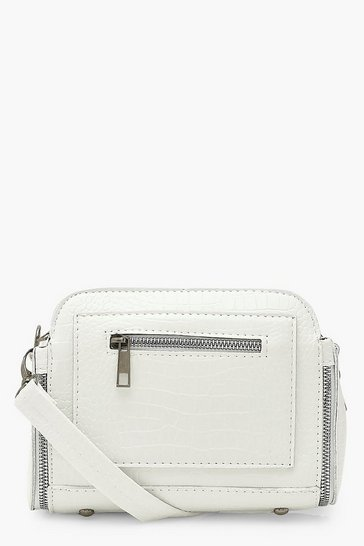 White Croc PU Zip Detail Cross Body Bag