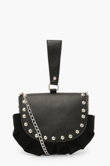 Black Stud Detail Grab Bag With Cross Body Strap