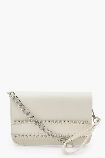 White Bead Detail Clutch Bag With Wristlet & Chain