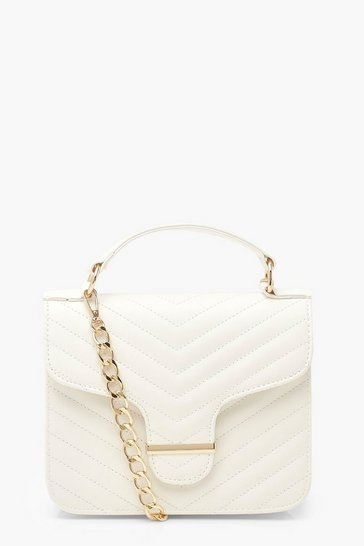 White Chevron Quilted Bar Detail Cross Body Bag