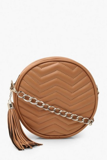Camel Chevron Quilt & Tassel Cross Body Bag & Chain