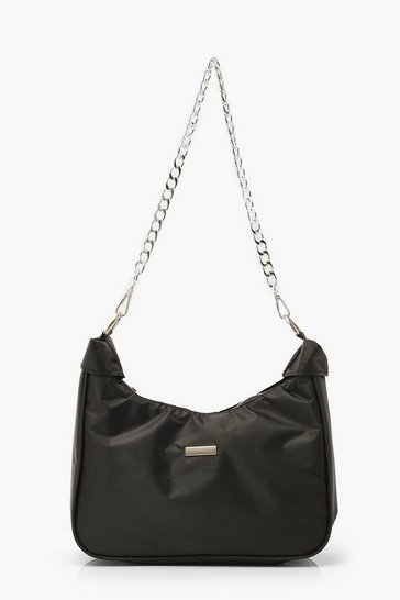 Black Nylon Chain Strap Under Arm Bag