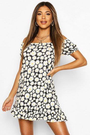 Black Daisy Print Off Shoulder Swing Dress