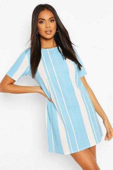 Blue Mixed Stripe Shift Dress