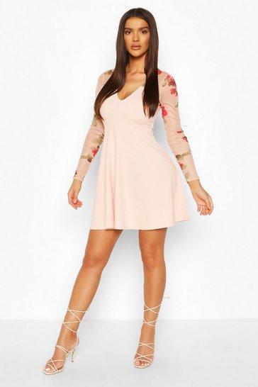 Peach Floral Mesh Skater Dress