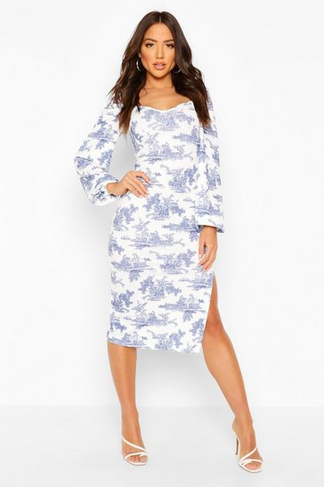Blue Puff Sleeve Square Neck Midi Dress