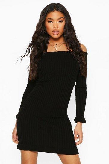 Black Ruffle Hem Bardot Mini Dress