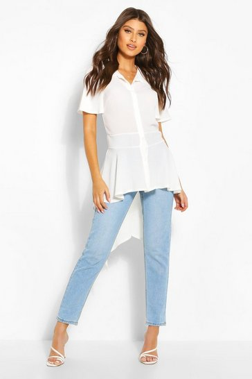 White Button Front Shirt With Waterfall Hem