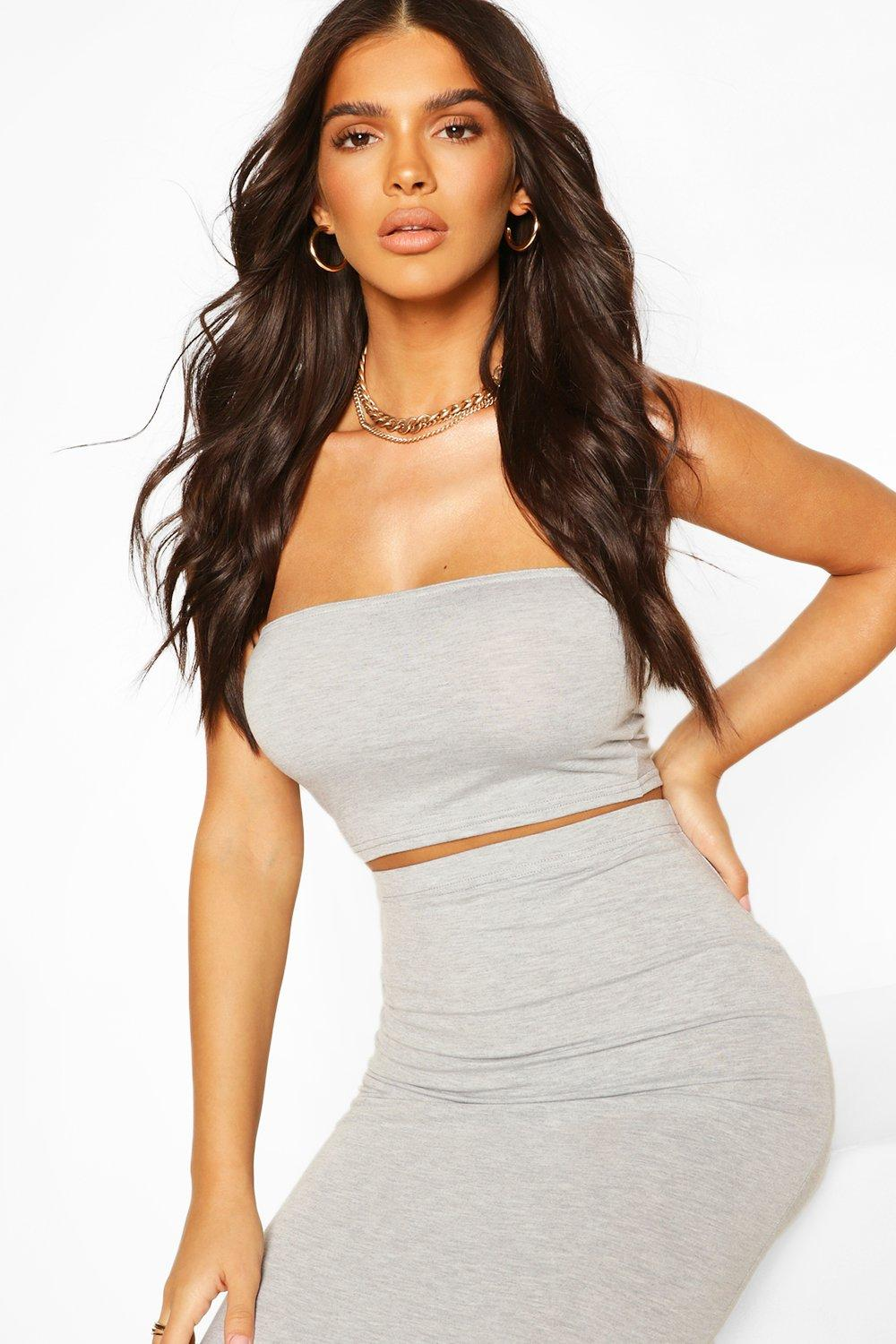 Womens Basic Bandeau Top - Grey