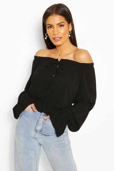 Black Woven Flare Sleeve Off The Shoulder Top