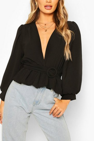 Black Puff Sleeve Belted Wrap Top