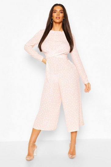Blush Twist Front Polka Dot Jumpsuit