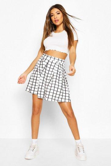 Ivory Sketchy Grid Check Box Pleat Skater Skirt