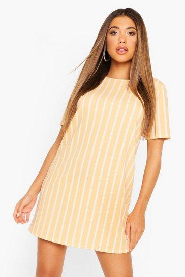 Apricot Pastel Short Sleeve Stripe Shift Dress
