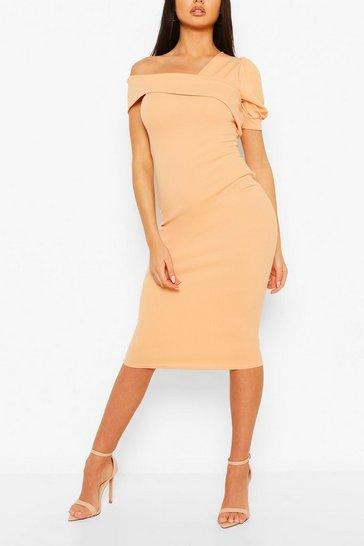 Apricot Off Shoulder Puff Sleeve Midi Dress