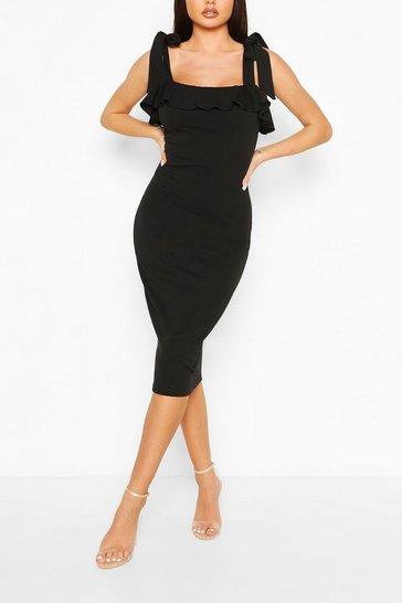 Black Tie Shoulder Square Neck Midi Dress