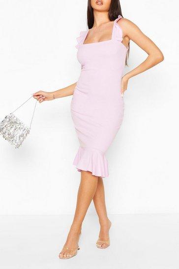 Lilac Square Neck Frill Hem Midi Dress