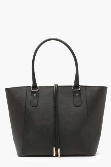Black Structured Cross Hatch Tote Bag