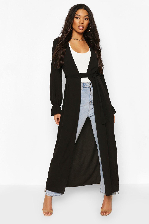 boohoo Womens Tie Waist Frill Cuff Maxi Kimono - Black - 14, Black