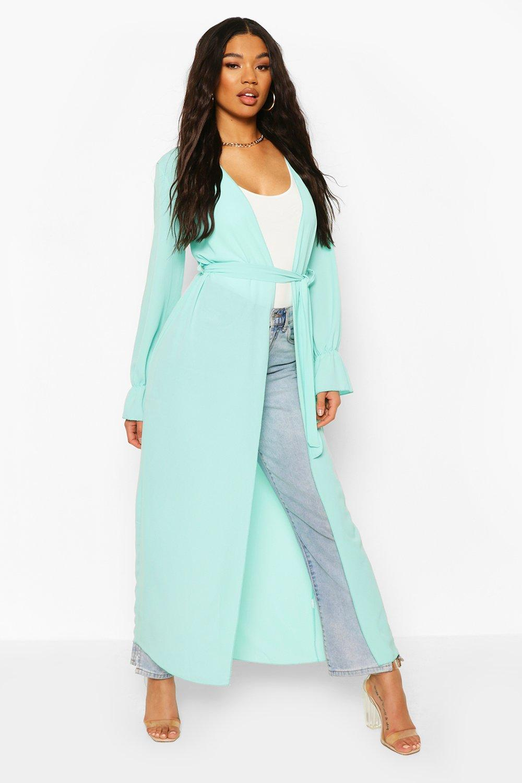 boohoo Womens Tie Waist Frill Cuff Maxi Kimono - Green - 16, Green