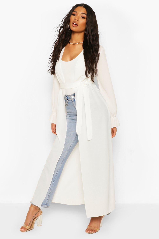boohoo Womens Tie Waist Frill Cuff Maxi Kimono - White - 6, White