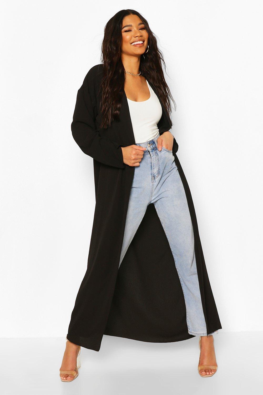 boohoo Womens Basic Woven Maxi Kimono - Black - 10, Black