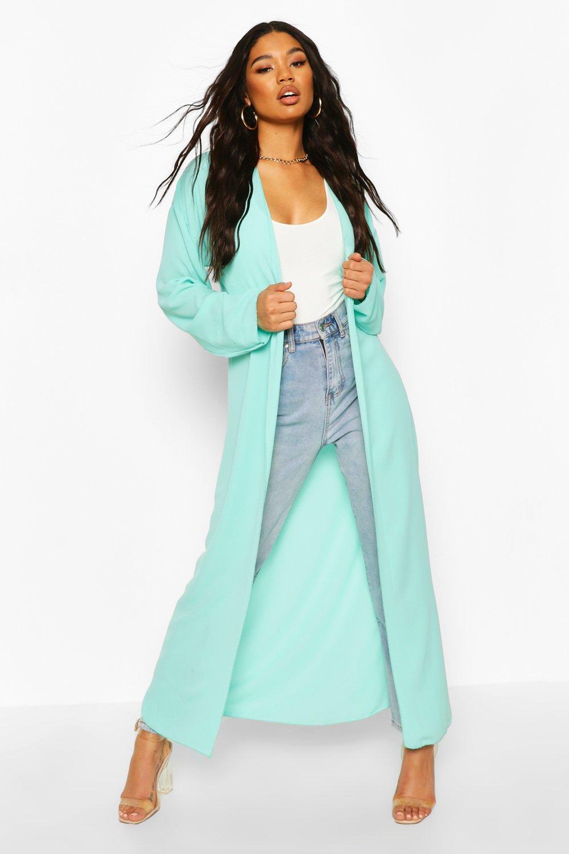 boohoo Womens Basic Woven Maxi Kimono - Green - 6, Green