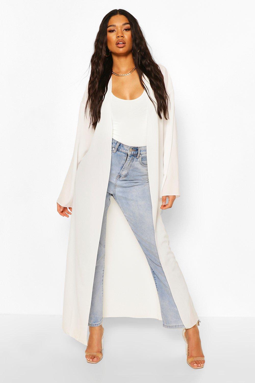 boohoo Womens Basic Woven Maxi Kimono - White - 14, White