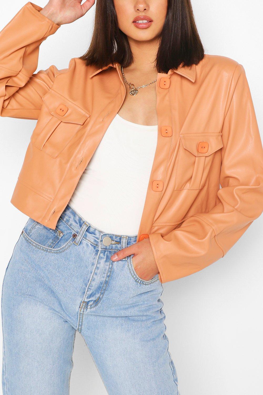 boohoo Pu Pocket Front Boxy Jacket, Peach