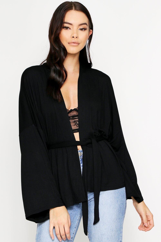 boohoo Womens Tie Waist Wide Sleeve Plunge Top - Black - 12, Black
