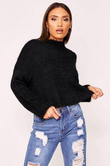Black Turtle neck fluffy knit cropped jumper