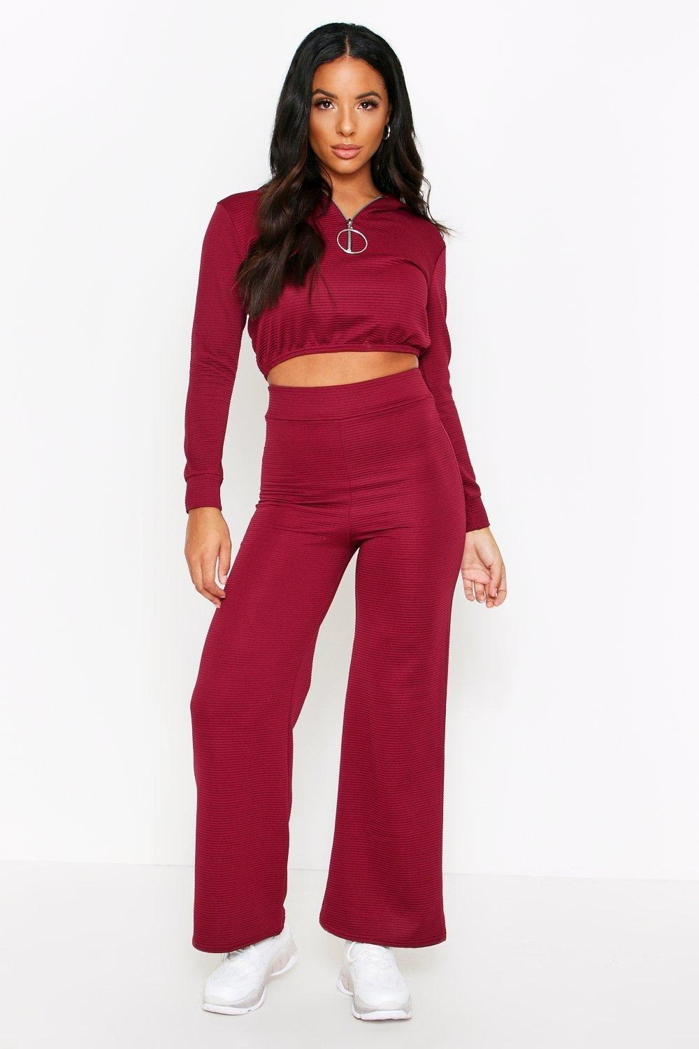 Womens Ribbed Zip Detail Wide Leg Lounge Set - Red - M/L, Red